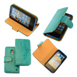 Bestcases Vintage Turquoise Bookstyle Cover Hoesje voor Nokia Lumia 620