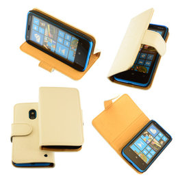 Bestcases Vintage Wit Bookstyle Cover Hoesje voor Nokia Lumia 620