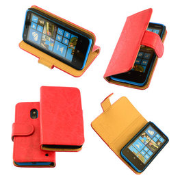 Bestcases Vintage Rood Bookstyle Cover Hoesje voor Nokia Lumia 620