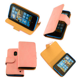 Bestcases Vintage Light Pink Bookstyle Cover Hoesje voor Nokia Lumia 620