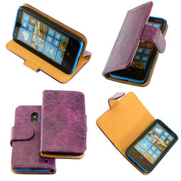Bestcases Vintage Lila Bookstyle Cover Hoesje voor Nokia Lumia 620