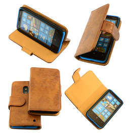 Bestcases Vintage Bruin Bookstyle Cover Hoesje voor Nokia Lumia 620