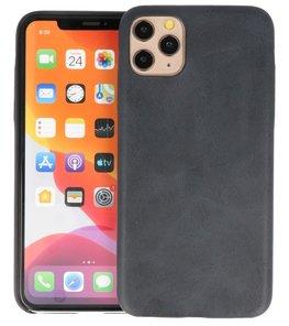 Leder Design Back Cover voor iPhone 11 Pro Max Zwart