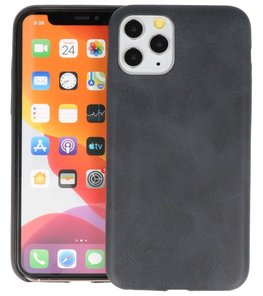 Leder Design Back Cover voor iPhone 11 Pro Zwart