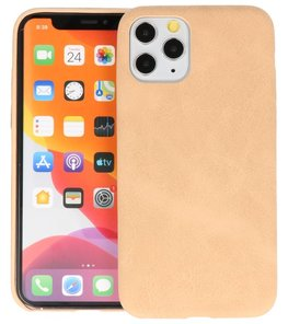 Leder Design Back Cover voor iPhone 11 Pro Beige