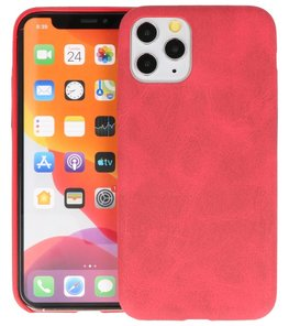 Leder Design Back Cover voor iPhone 11 Pro Rood