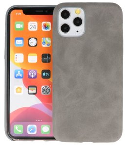 Leder Design Back Cover voor iPhone 11 Pro Grijs