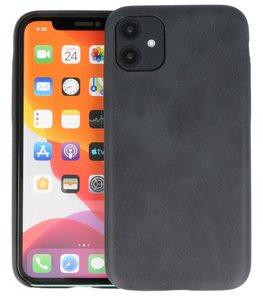 Leder Design Back Cover voor iPhone 11 Zwart