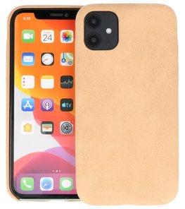 Leder Design Back Cover voor iPhone 11 Beige
