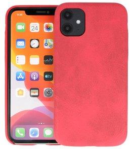 Leder Design Back Cover voor iPhone 11 Rood