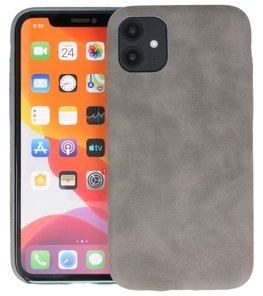 Leder Design Back Cover voor iPhone 11 Grijs