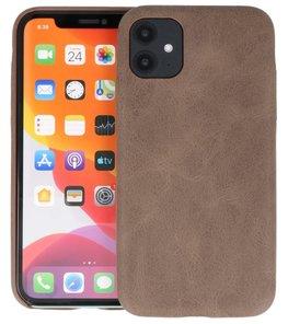 Leder Design Back Cover voor iPhone 11 Donker Bruin