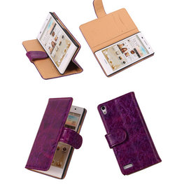 Bestcases Vintage Lila Book Cover Hoesje voor Huawei Ascend P6