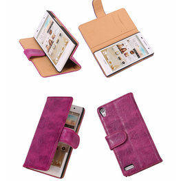 Bestcases Vintage Pink Book Cover Hoesje voor Huawei Ascend P6