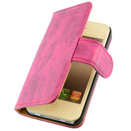 Bestcases Vintage Pink Book Cover Hoesje voor Apple iPhone 4 4S