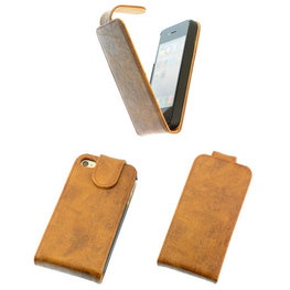 Eco-Leather Flipcase Hoesje voor Apple iPhone 4 4S Bruin