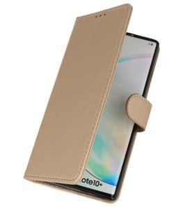 Bookstyle Wallet Cases Hoes voor Samsung Galaxy Note 10 Plus Goud