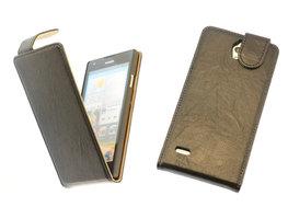 BestCases Zwart Kreukelleer Flipcase Hoesje voor Huawei Ascend G700