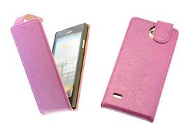 BestCases Lila Kreukelleer Flipcase Hoesje voor Huawei Ascend G700