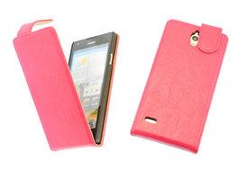 BestCases Fuchsia Kreukelleer Flipcase Hoesje voor Huawei Ascend G700