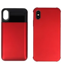 Battery Power Bank + Back Case voor iPhone Xs Max Rood