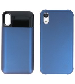 Battery Power Bank + Back Case voor iPhone XR Blauw