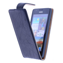 BestCases Zwart Kreukelleer Flipcase Hoesje voor Huawei Ascend G510