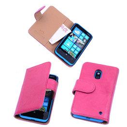 BestCases Luxe Echt Lederen Booktype Hoesje voor Nokia Lumia 620 Roze