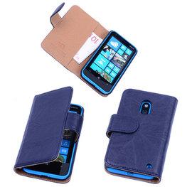 BestCases Navy Blue Luxe Echt Lederen Booktype Hoesje voor Nokia Lumia 620
