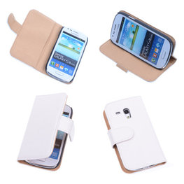 Bestcases Vintage Creme Book Cover Hoesje voor Samsung Galaxy S3 Mini i8190