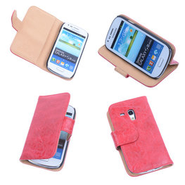 Bestcases Vintage Rood Book Cover Hoesje voor Samsung Galaxy S3 Mini i8190