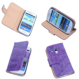 Bestcases Vintage Lila Book Cover Hoesje voor Samsung Galaxy S3 Mini i8190