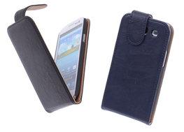 BestCases Navy Blue Luxe Kreukelleer Flipcase Hoesje voor Samsung Galaxy S3
