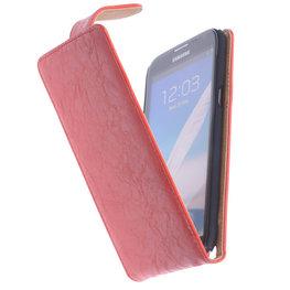 Bestcases Vintage Oranje Flipcase Hoesje voor Samsung Galaxy Note 2 N7100