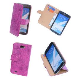 Bestcases Vintage Pink Book Cover Hoesje voor Samsung Galaxy Note 2
