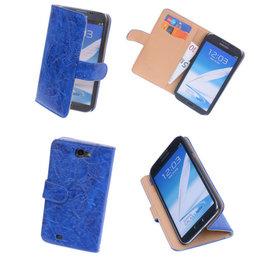 Bestcases Vintage Blauw Book Cover Hoesje voor Samsung Galaxy Note 2