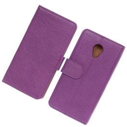 BestCases Lila Luxe Echt Lederen Booktype Hoesje voor HTC Desire 700