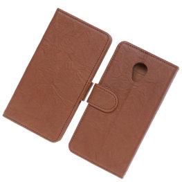 BestCases Bruin Luxe Echt Lederen Booktype Hoesje voor HTC Desire 700
