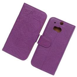 BestCases Lila Luxe Echt Lederen Booktype Hoesje voor HTC One M8