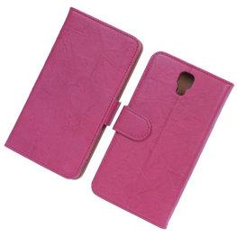 BestCases Fuchsia Echt Leer Booktype Hoesje voor Samsung Galaxy Note 3 Neo