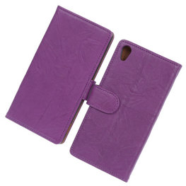BestCases Lila Luxe Echt Lederen Booktype Hoesje voor Sony Xperia Z2