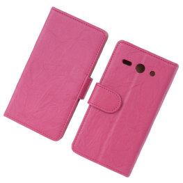 BestCases Fuchsia Luxe Echt Lederen Booktype Hoesje voor Huawei Ascend Y530
