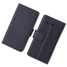 BestCases Zwart Luxe Echt Lederen Booktype Hoesje voor Huawei Ascend Y530