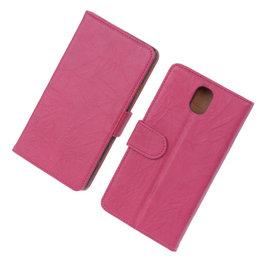 BestCases Fuchsia Echt Leer Booktype Hoesje voor Samsung Galaxy Note 3 N9000