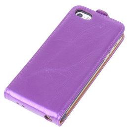 Bestcases Paars Antiek Flip Case Hoesje voor Apple iPhone 5 5S