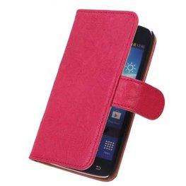 BestCases Fuchsia Echt Leer Booktype Hoesje voor Samsung Galaxy Core i8260