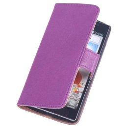 BestCases Lila Stand Luxe Echt Lederen Booktype Hoesje voor LG G2 Mini