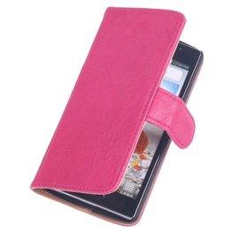 BestCases Fuchsia Stand Luxe Echt Lederen Booktype Hoesje voor LG G2 Mini
