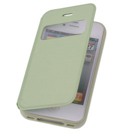 View Cover Groen Hoesje voor Apple iPhone 4 4s Protect Stand Case TPU Book-style