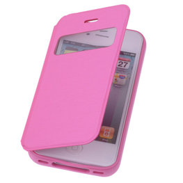 View Cover Pink Hoesje voor Apple iPhone 4 4s Protect Stand Case TPU Book-style